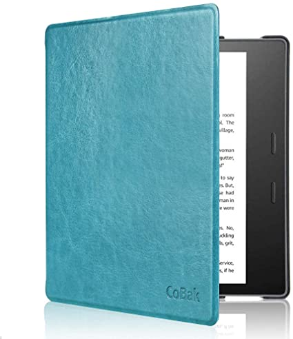 CoBak Kindle Oasis Case - Premium PU Leather Smart Cover with Auto Sleep Wake Feature for Kindle Oasis 9th 10th Generation, Slim Fit, Sky Blue