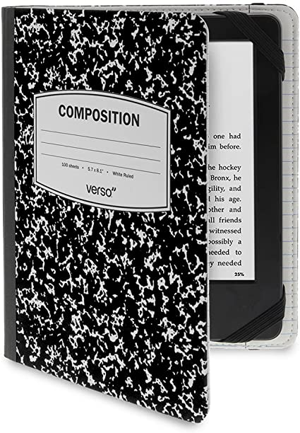 Verso Kindle Case - Scholar Classic Black Composition Book Folio Style Protective Case for Amazon Kindle (fits Kindle Paperwhite, Kindle, and Kindle Touch)